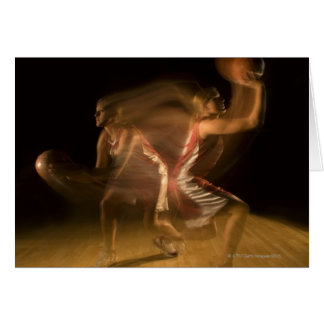 Double exposure of woman playing basketball card