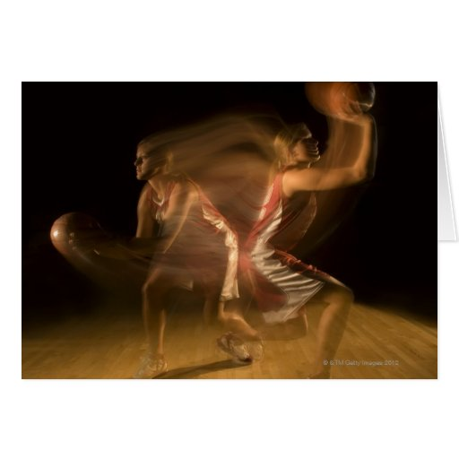 Double exposure of woman playing basketball greeting cards