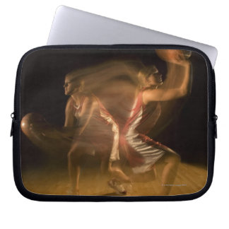 Double exposure of woman playing basketball laptop sleeve