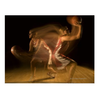 Double exposure of woman playing basketball postcard