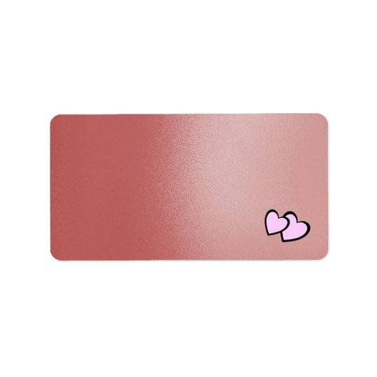 Double Faux Silk Pink Heart Address Label