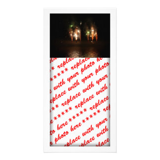 Double Fireworks Fun Photo Greeting Card