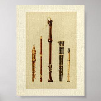 Double Flageolets, German Flute, Flutes Douces Poster