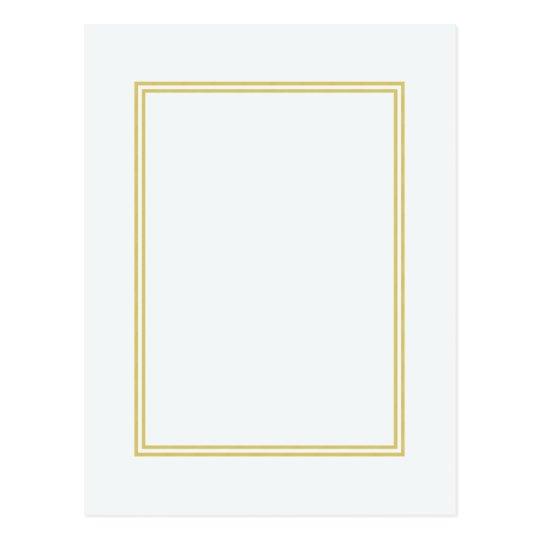 Double Gold Metallic Border on Bubbly White Postcard