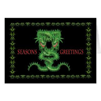 Double Green Dragon Christmas card