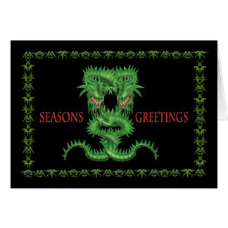 Double Green Dragon Christmas card. Card
