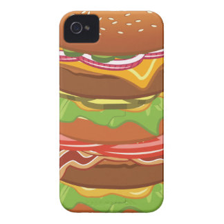 Double hamburger with cheese and bacon iPhone 4 cases