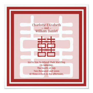 Double Happiness Chinese Wedding Card