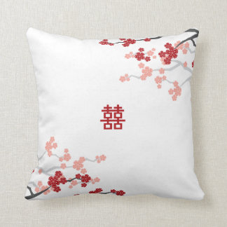 Double Happiness Chinese Wedding Cherry Blossoms Throw Cushions