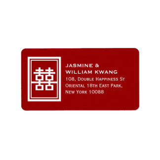 Double Happiness Chinese Wedding Classic Symbol Label