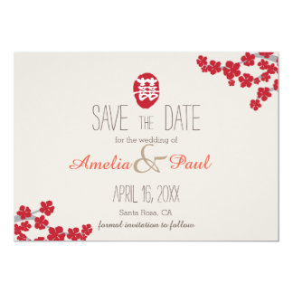 Double Happiness Chinese Wedding - Save the Date 13 Cm X 18 Cm Invitation Card