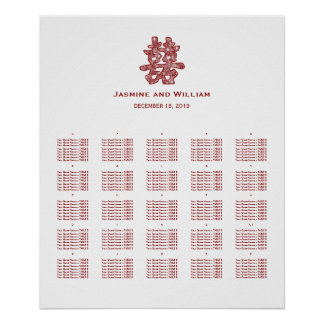 Double Happiness Chinese Wedding Seating Chart