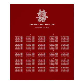Double Happiness Chinese Wedding Seating Chart Poster