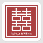 Double Happiness Chinese Wedding Square Sticker