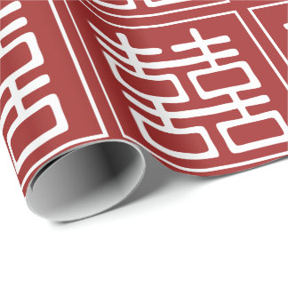 Double Happiness Chinese Wedding Wrapping Paper