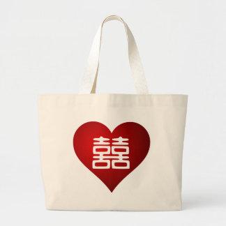Double Happiness • Heart Jumbo Tote Bag
