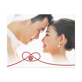Double Happiness Knot Chinese Wedding Photo Canvas Canvas Print
