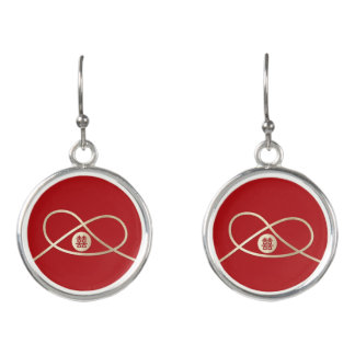 Double Happiness Knot Red Chinese Wedding Earrings