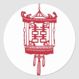 Double happiness Lantern Classic Round Sticker