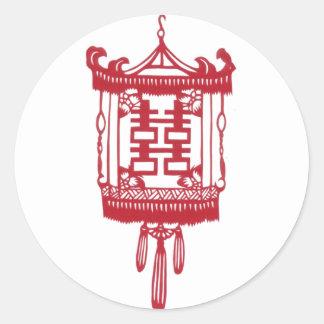Double happiness Lantern Round Sticker