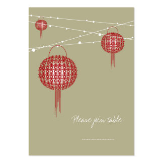 Double Happiness Lanterns Chinese Modern Wedding Business Card Template
