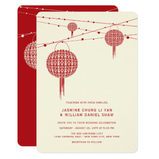 Double Happiness Lanterns Chinese Wedding Invite