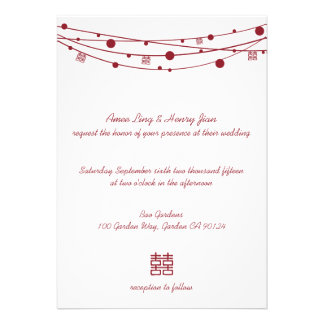 Double Happiness Lanterns Chinese Wedding Invites
