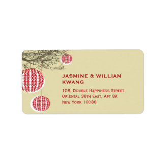 Double Happiness Lanterns Chinese Wedding Labels