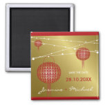 Double Happiness Lanterns Golden Save Date Magnet