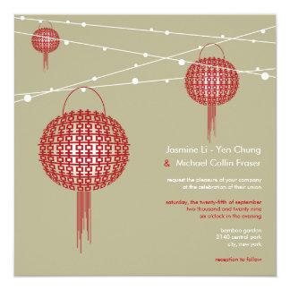 Double Happiness Lanterns Modern Chinese Wedding 13 Cm X 13 Cm Square Invitation Card