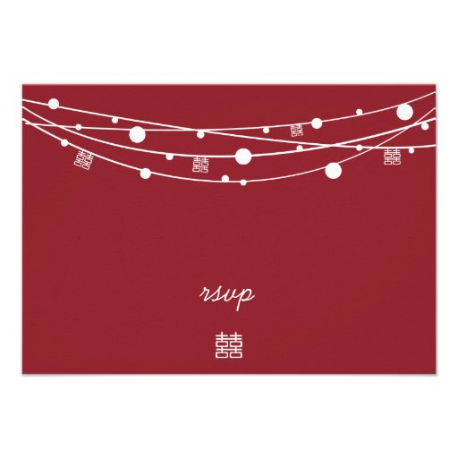 Double Happiness Lanterns Wedding RSVP Cards