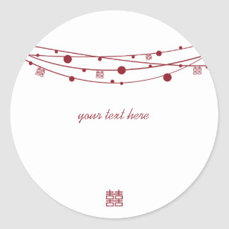 Double Happiness Lanterns Wedding Stickers
