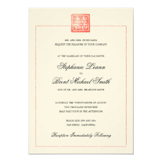 Double Happiness Modern Chinese Wedding Invitation