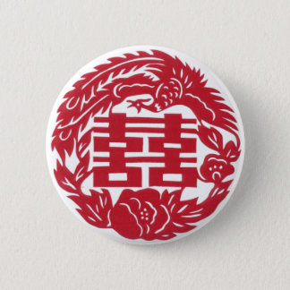 Double happiness Phoenix 6 Cm Round Badge