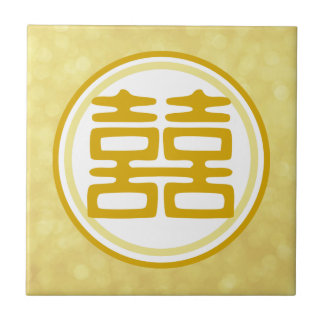 Double Happiness • Round • Gold Tile