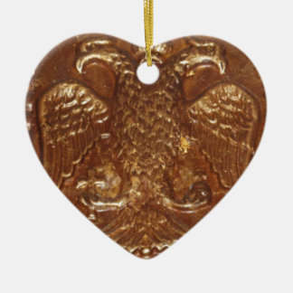 Double Headed Eagle Byzantine Empire Coat Of Arms Ceramic Heart Decoration