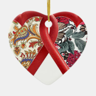double heart batik art christmas ornaments