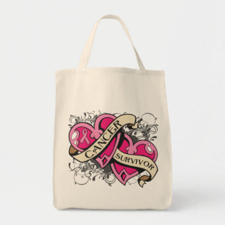 Double Heart Breast Cancer Survivor Grocery Tote Bag
