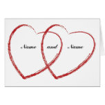 double heart engagement announcement greeting card