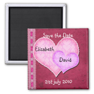 Double Heart Square Magnet