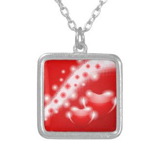 Double heart square pendant necklace