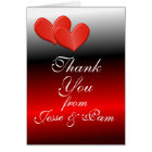 Double Heart Thank You Card-customise Card