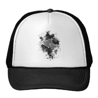 Double Hearts Daisies - Grey B W Hat