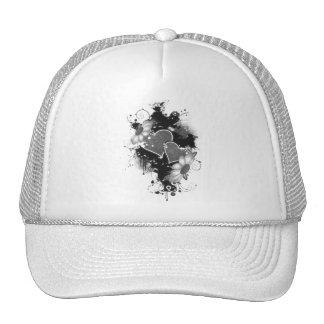 Double Hearts Daisies - Grey B W Mesh Hat