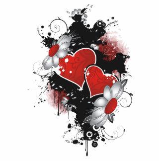 Double Hearts & Daisies - Original Colors Photo Sculpture Decoration