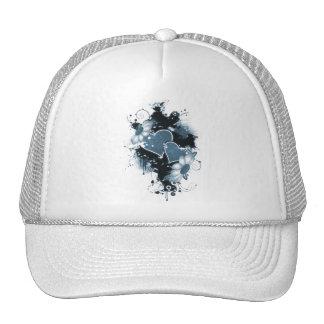 Double Hearts Flowers - Blue Mesh Hats