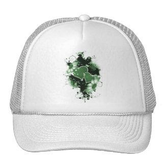 Double Hearts Flowers - Green Trucker Hat