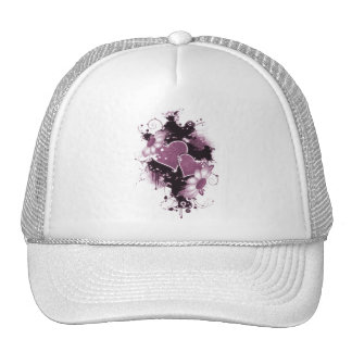 Double Hearts Flowers - Pink Hat