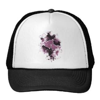 Double Hearts Flowers - Pink Mesh Hat