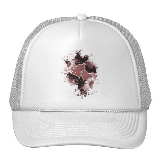 Double Hearts Flowers - Red Mesh Hats